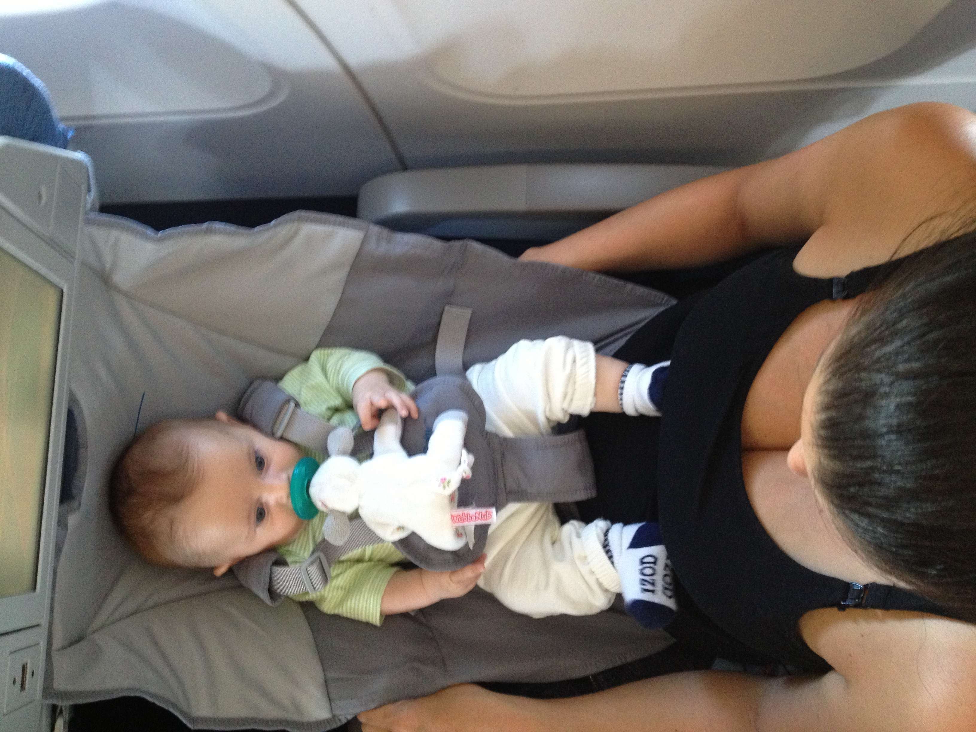 flyebaby connected to the seat and my waist with my 8 week old son snug and secure during flight flyebaby airplane seat   family travel guide  rh   familytravelguide ca